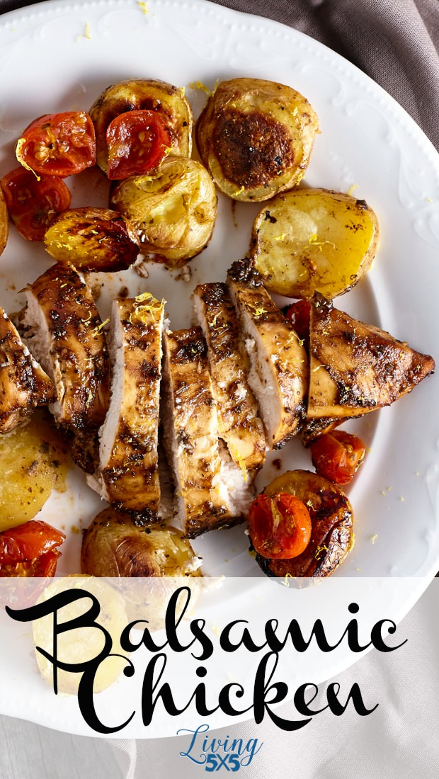 Once in awhile, we'd like to wine and dine ourselves. Preparing this balsamic chicken recipe with roasted vegetables was an exceptional choice. Savory spices and easy clean up to this one pan meal is perfect for quick weekday dinners and busy weekends.