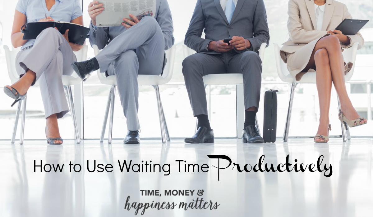 Do you get impatient when you have to wait in line at the bank or sit for an extra hour at the doctor's office? Instead of getting frustrated with wait time, put that time to good use. As you look over your daily to-do list, identify places that you are likely to have to wait and start to use waiting time productively